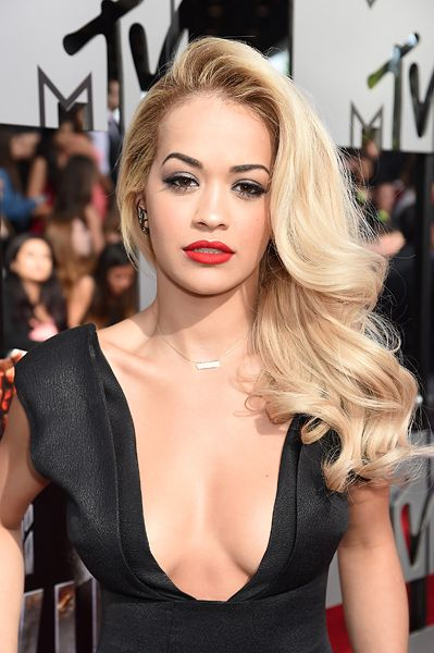 Rita Ora on the red carpet at the 2014 MTV Movie Awards in Los Angeles.