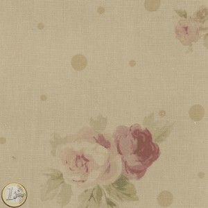 Tissu pois et fleur beige YUWA / Chérie M