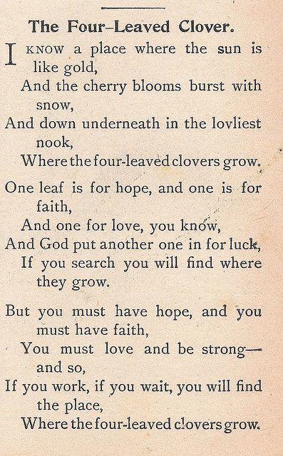 "The Four-Leaved Clover.  Poem from ""Child's Book of Recitations,"" 1905 -- Such a sweet poem <3"