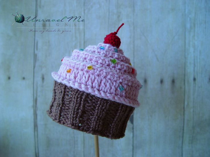 PDF Crochet Pattern and Crochet/Knit pattern - Baby Cakes Cupcake Hat - Two v...
