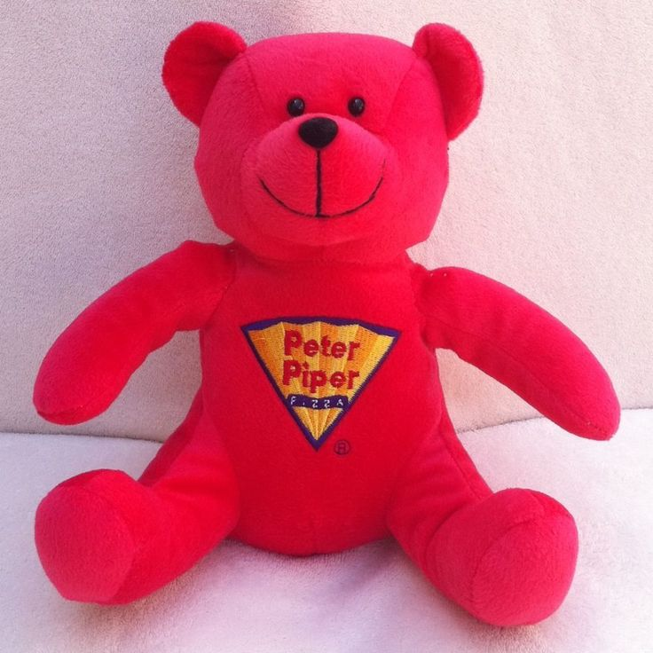 "REDUCED!!!! Peter Piper Pizza Red Bear Plush 9"" Approx. Height"