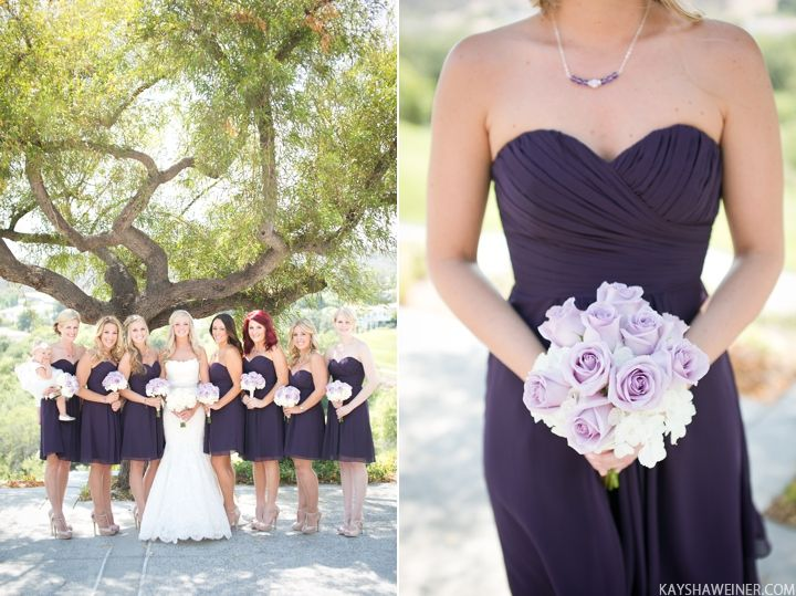 We can't get enough of the bridesmaids bouquet. So soft and elegant and their dresses are lovely. <3 in this \\  Photo Credit: Kaysha Weiner Photography #purplewedding #bridesmaids #weddingbouquet