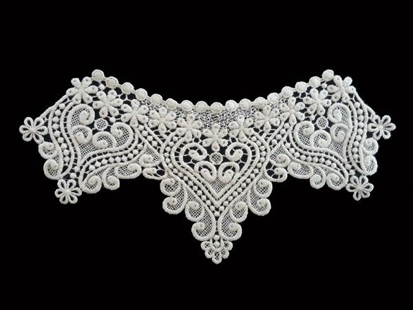 Cotton Chemical Motive Lace Sewing Material Neck Lace Ivory 1pcs - n008 #Ansoyoung