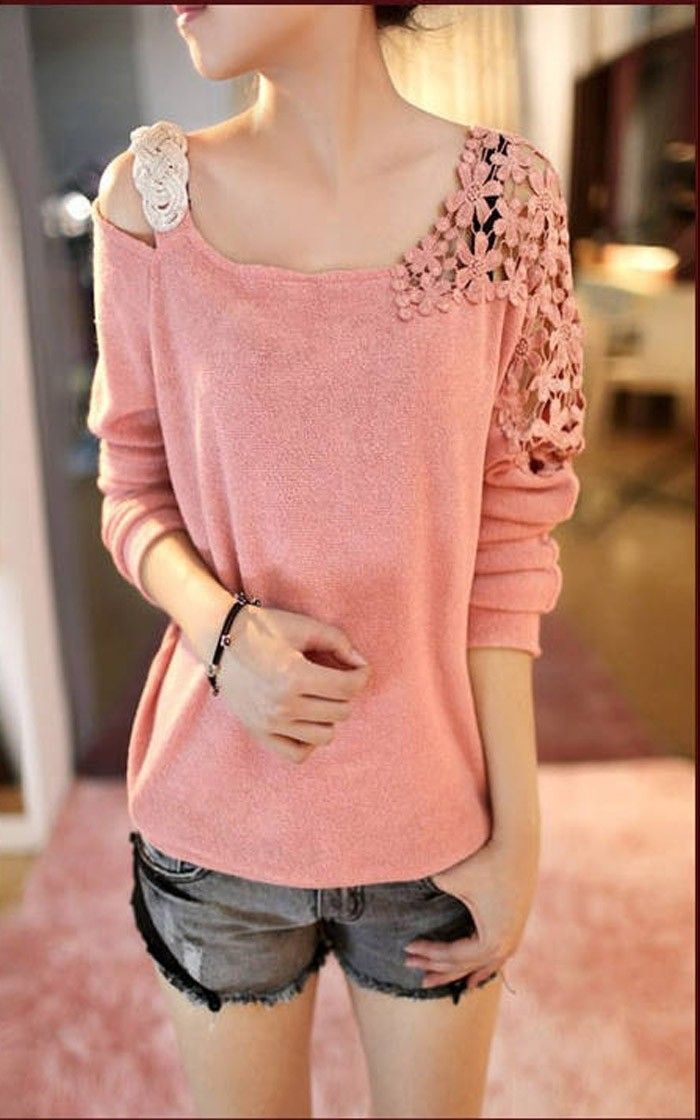 cool New Spring Women Sweater Casual Loose Long-Sleeve Strapless Lace Pullover Knitted Crochet Tops pull femme Bottoming Shirt