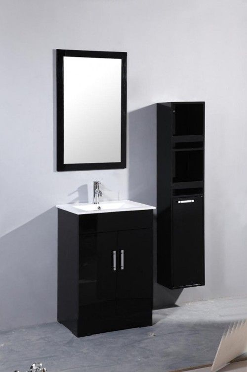 Contemporary Art Sites Bathroom Plain White Wall Paint Background Decorated Black Bathroom Sink Cabinets Rectangular Wall Mirror Separated Black Wall Cabinet White Ceramic Vanity