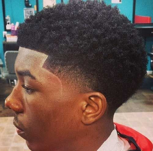 Black Afro Men Taper Faded Cut
