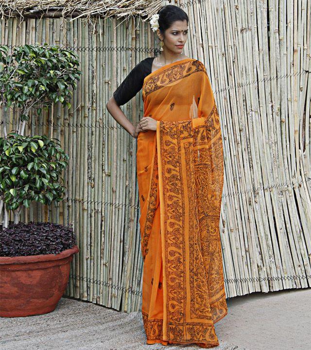 Orange Georgette Saree With Madhubani
