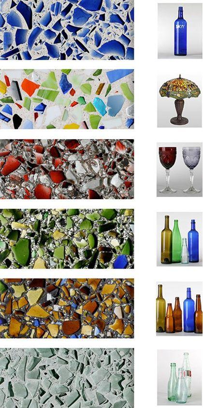 muestras de encimeras de vidrio reciclado