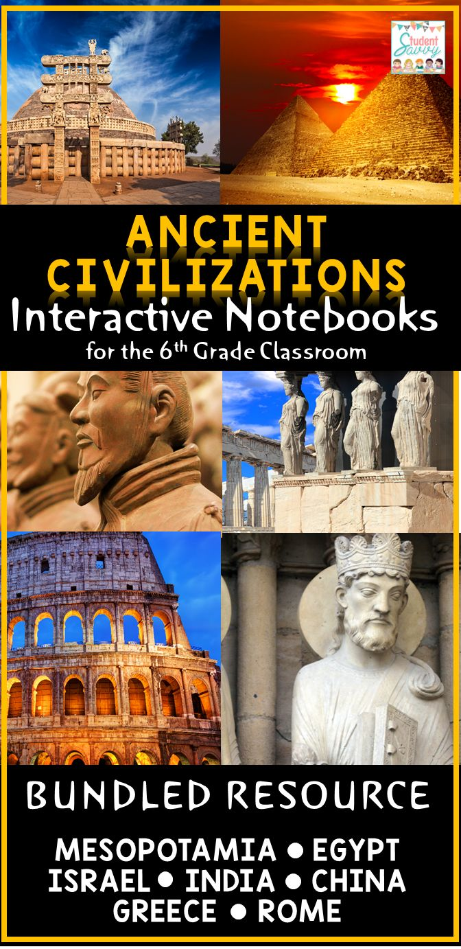 Ancient Civilizations / Ruins Interactive Notebook! - Ancient Mesopotamia, Egypt, Israel, India, China, Greece & Rome included. Great lessons for the 6th grade classroom for social studies /  history - includes timelines, printable projects, and foldables, graphic organizers