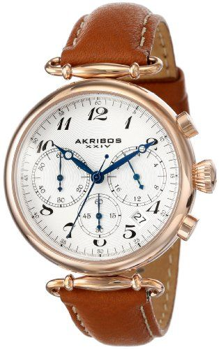 Akribos XXIV Women's AK630TN Rose-Tone Stainless Steel and Brown Leather Strap Watch - List price: $625.00 Price: $81.95