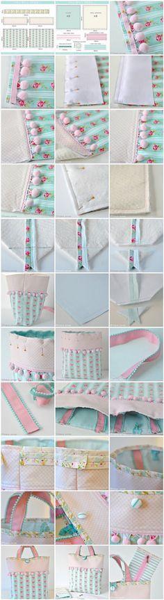 Pom pom trim bag sewing tutorial #sewing Para saber más sobre los coches no olvides visitar marcasdecoches.org
