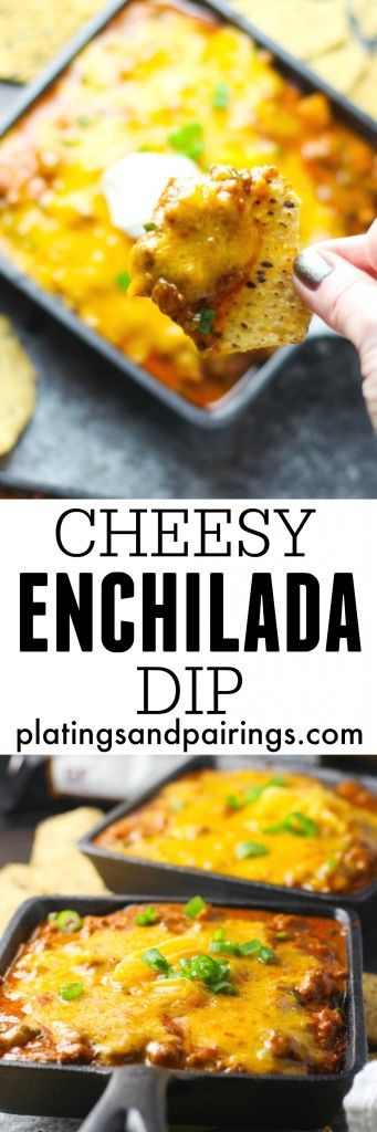 Take your snacking to the next level with this Cheesy Enchilada Dip. Beans are layered with ground beef and enchilada sauce, and topped with lots of melty cheese, green onions and a dollop of sour cream. | platingsandpairings.com @fstgchips #FoodShouldTasteGood AD