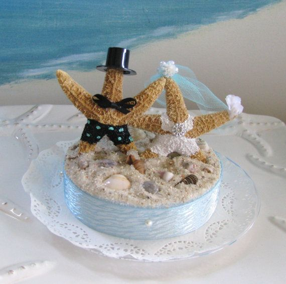Starfish Bride And Groom On A Beach Wedding Cake Topperby CeShoreTreasures