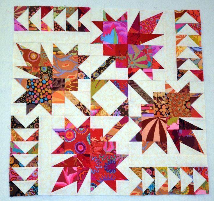 Northern Neighbors quilt with Kaffe Fassett fabric -Workshop - Michelle Renee Hiatt
