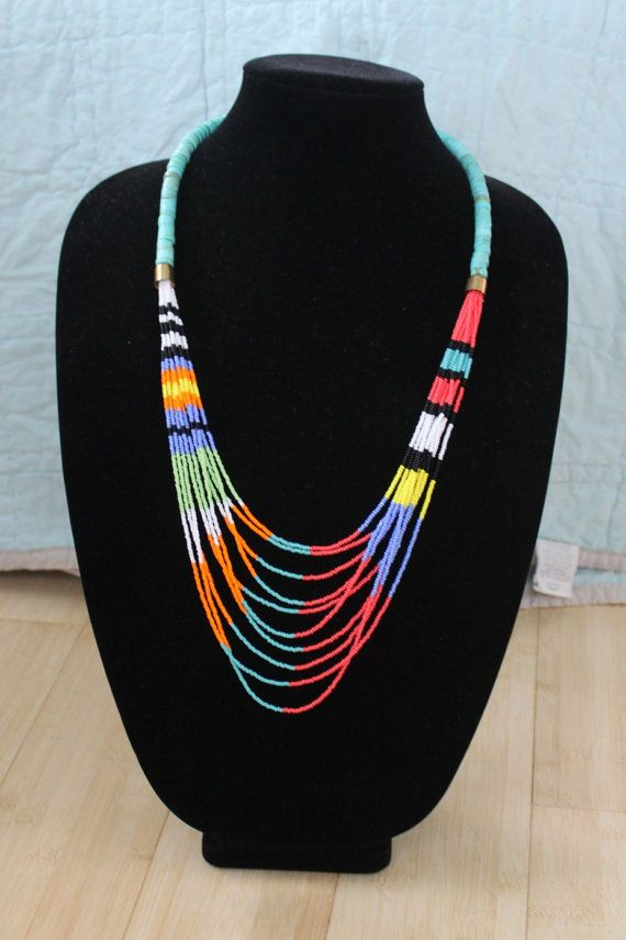 Colorful Multi Strand Beaded Necklace por annamerkeljewelry en Etsy