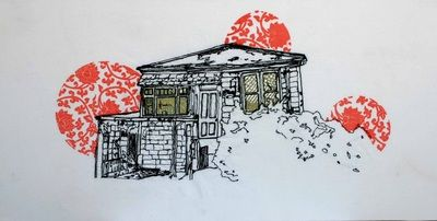 Textile art by Katherine Bertram, Houses in Scorching bay wellington. Freehand machine embroidery.