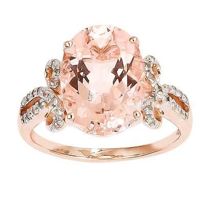 Oval Morganite and 1/8 CT. T.W. Diamond Ring in 14K Rose Gold - Size 7 - Zales