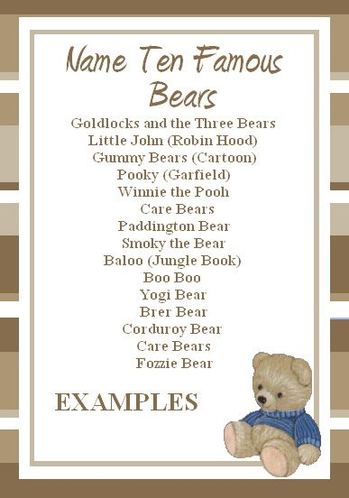 This cute and simple Free Teddy Bear Game for your Teddy Bear Party! It is a free printable game that tests your guests' knowledge of famous bears, how many do you know?