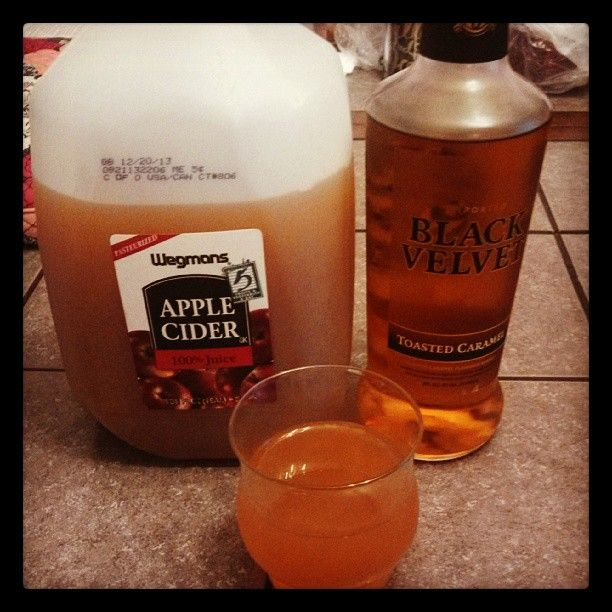 Caramel Apple Cider - with a kick :) Mix to your taste - Black Velvet Toasted Caramel whiskey and cider.