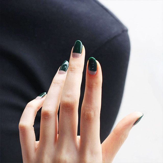 Best 25 green nail ideas on pinterest essie colors essie nail green nail polish has never looked more sophisticated than when done in this modern two prinsesfo Image collections