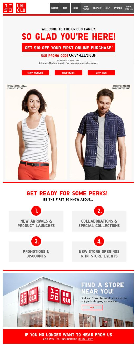 Uniqlo Welcome Email. Subject line: We're so glad you're here!