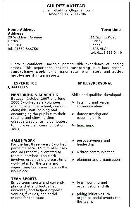 volunteer based resume