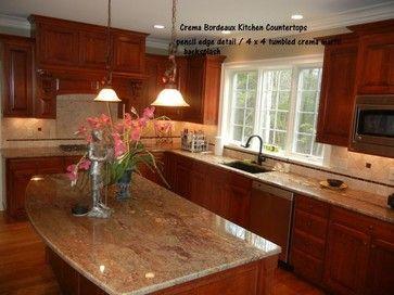 Creama Bordeaux Granite Counter Top With Tiles Backsplash