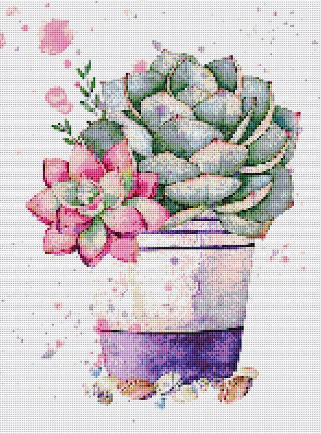 Cactus Cross Stitch Pattern PDF Instant Download Flower Cross Stitch Cute Cross Stitch Garden Cross Stitch Bright Cross Stitch Nature Cross