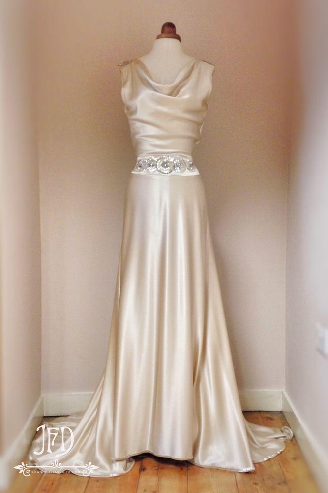 Sample sale oyster silk satin art deco wedding dress with for Hand beaded wedding dresses