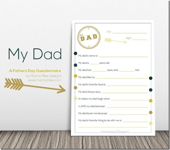 Fathers Day Questionnaire | @mamamissblog #fathersday #allaboutdad #freeprintable #mydad
