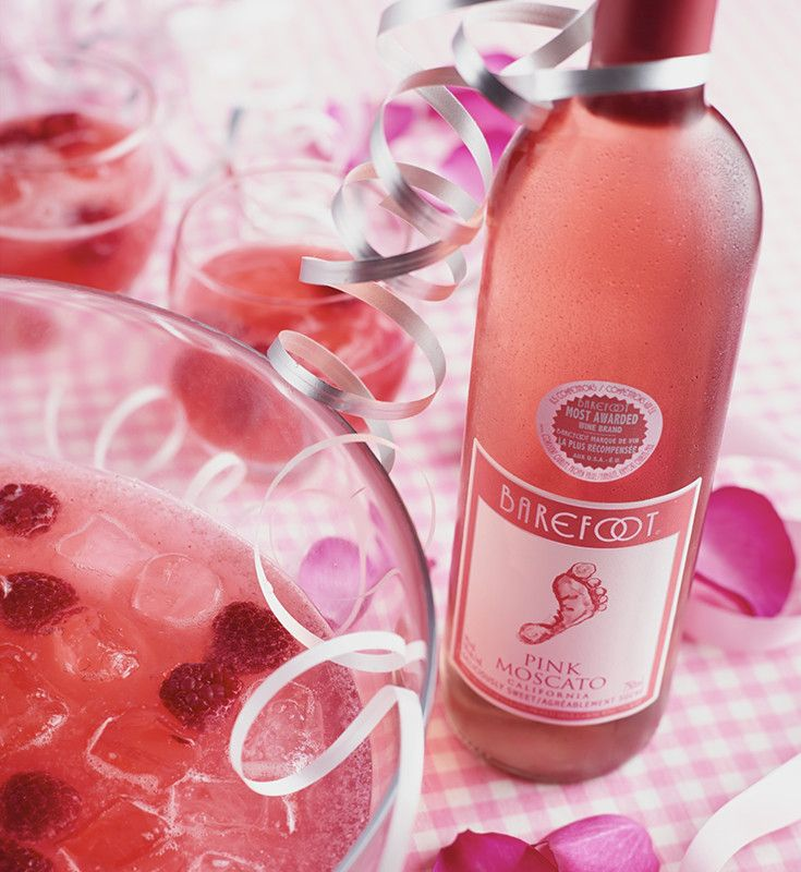 Bridesmaid's Punch | Barefoot Wine & Bubbly  2 750ml bottles of Barefoot Pink Moscato  1 can of frozen pink lemonade concentrate  700ml lemon-lime soda (e.g. Sprite)  1 container of raspberries