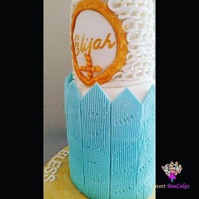 Elijah's Dedication ...Bless him indeed!  Fruits of the Spirit stamped on each post. -  -   #babydedication #elijah #blesshimindeed #stampedposts #fruitsofthespirit #bramptoncakes #brampton #gta #tdot #twest #instacake #cakesofinstagram #cakegram #kidscakes