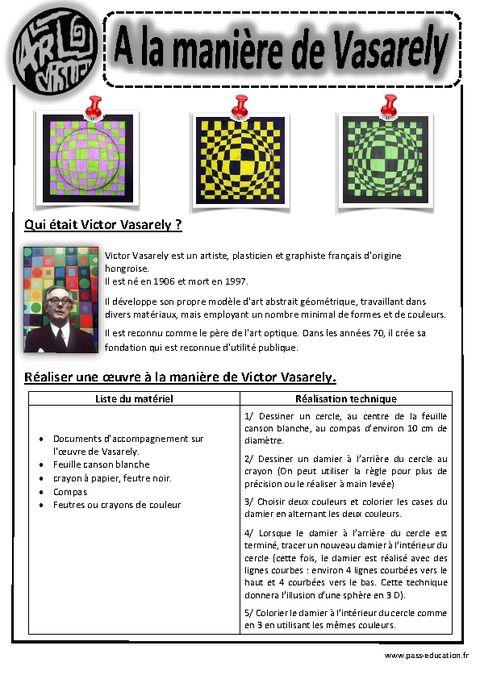 A la manière de Vasarély – Ce1 - Ce2 – Cm1 – Cm2 – Arts visuels – Cycle 3 - Pass Education                                                                                                                                                                                 Plus