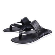 Cuero genuino flip flop zapatillas casuales para hombre 2016 nuevos playa para hombre planas sandalias sandalias hombre playa(China (Mainland))
