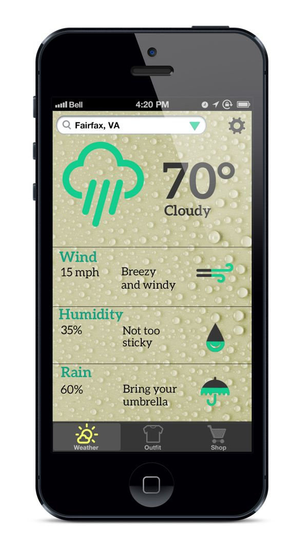 WeatherWear App by Mary McElveen, via Behance