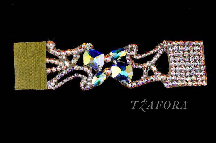 """Gardenia""  - Swarovski ballroom bracelet, each one handmade in Canada. Ballroom jewelry, ballroom dancesport accessories. www.tzafora.com Copyright © 2014 Tzafora"