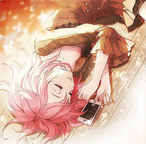 A cute anime girl sleeping by her phone probably thinking - Anime girl on phone ...