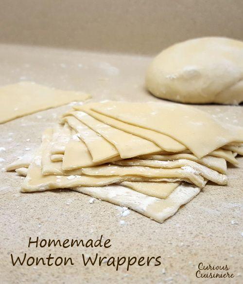 Aperfeiçoe para rolos de ovo, wontons, dumplings, ravioli, e mais.  Estes wonton caseiros invólucros são fáceis de fazer e congelar bem.  |  Www.curiuscuisiniere.com