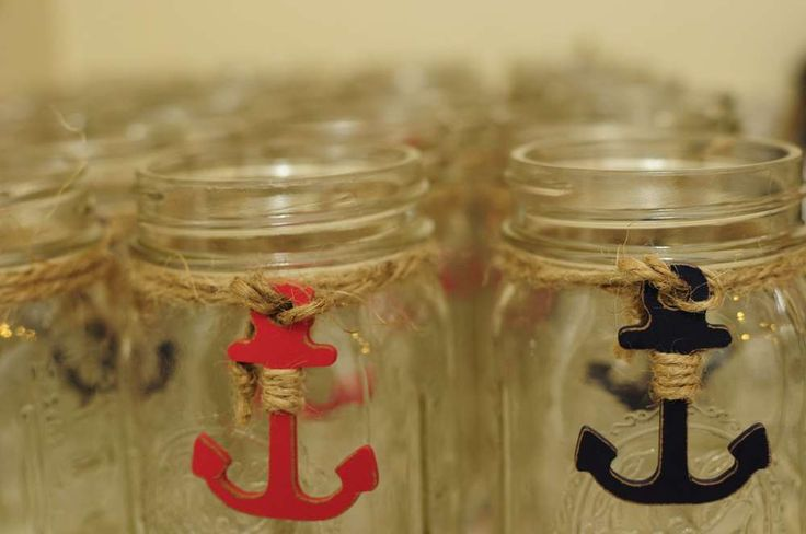 Nautical Baby Shower | CatchMyParty.com Mason Jars with Anchors Drink Ideas