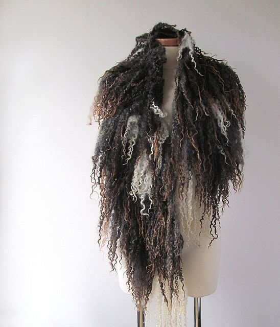 Felted scarf collar - grey brown raw wool curly lock | Flickr - Photo Sharing!