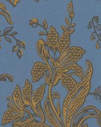 """TAPET NR 65470  LILJOR BRUN/BLÅ/GUL  Lim & Handtryck   """"Värmland, ca 1870. Originalfärgställning. Hantverksmässigt och miljövänligt tryckt med originalvalsar och linoljeförstärkt limfärg."""