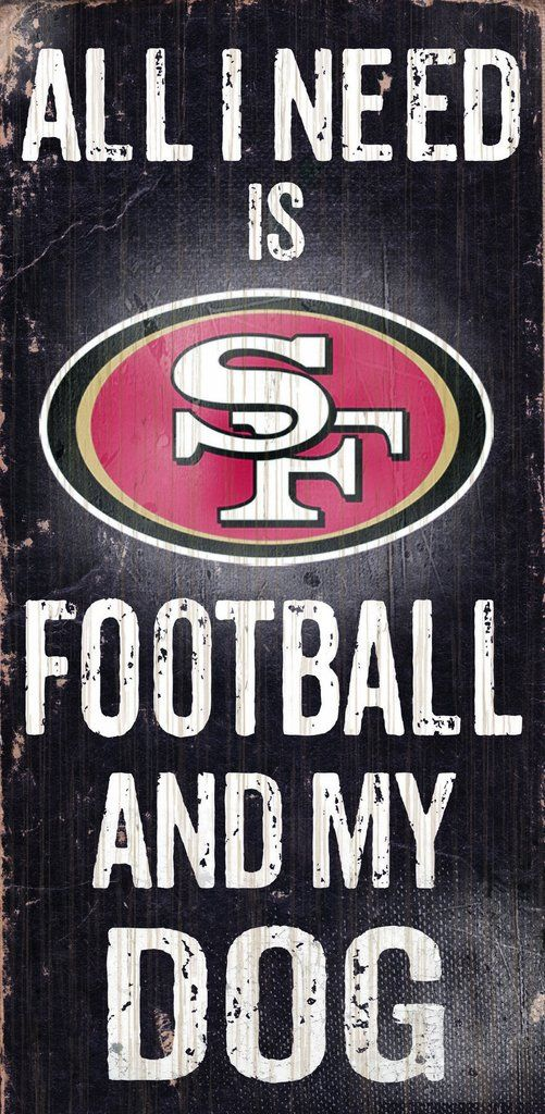 "San Francisco 49ers Wood Sign - Football and Dog 6""x12"""