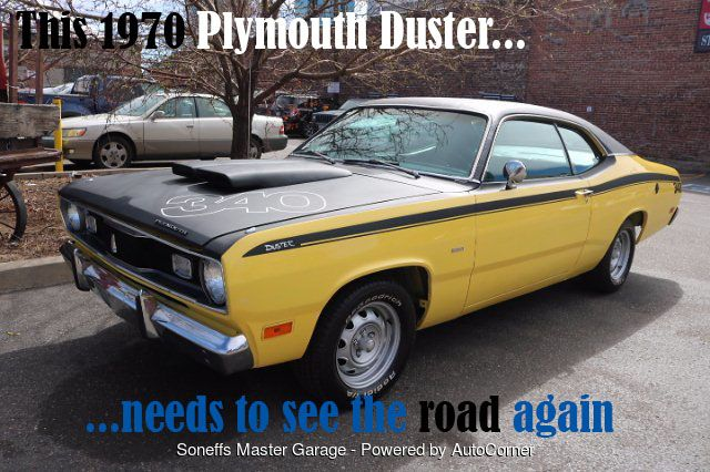 [FOR SALE] Classic 1970 #PlymouthDuster for $45,000 at #SoneffsMasterGarage. Call 303-296-1688! #classiccars #classiccarsforsale #vintagecars #plymouth