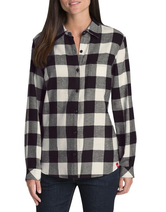 Women S Plaid Long Sleeve Cropped Flannel On Down Shirt Wild Fable Target