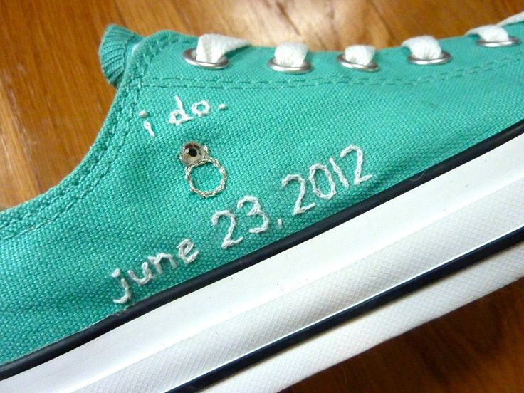 Embroidered Wedding converse. Love for the reception for me and the bridesmaids!!!