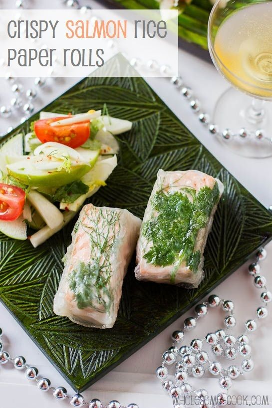 Crispy Salmon Rice Paper Rolls PLUS Some Salmon Facts - http://wholesome-cook.com/2012/12/12/crispy-salmon-rice-paper-rolls-plus-some-salmon-facts/