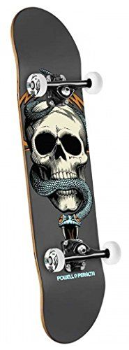 Powell-Peralta Black Light Skull and Snake Complete Skateboard, Gray. Designed by professional skaters. Designed in the USA using top quality components. All Powell Peralta products come with a warranty.