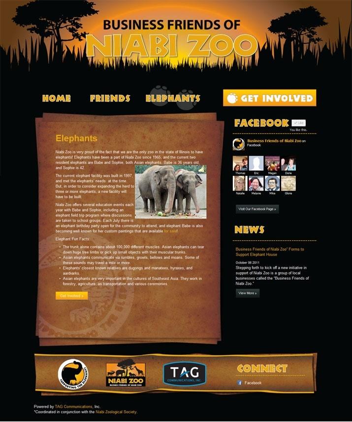 Business Friends of Niabi Zoo Website Design