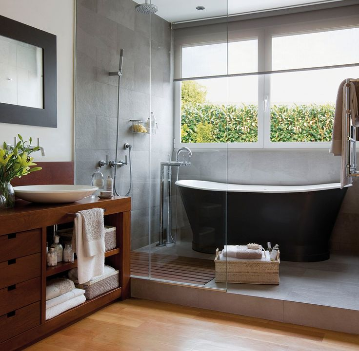 Visual example of a freestanding tub on a platform in this color scheme.  Not using any of these fixtures/fittings.  Would like to have the platform be finished in this gray color in concrete