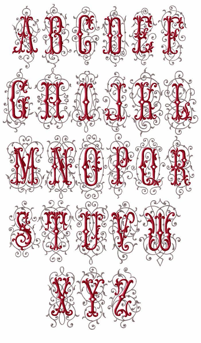 Barocco Initials machine embroidery designs